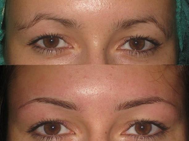 Перманентный макияж бровей фото до и после фото